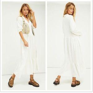 FREE PEOPLE Moonlight Midi Dress in Ivory size XSMALL
